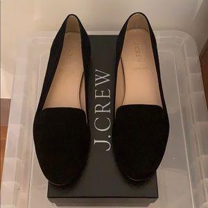 Jcrew black suede flat smoking slipper